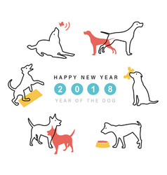2018 happy new year dog cute funny cartoon vector image