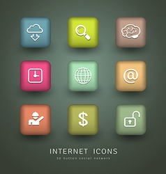 Buttons Internet Icons network collections vector image