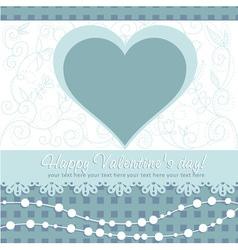 Cute Valentines Day heart floral invitation postca vector image vector image