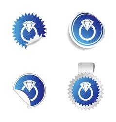 diamond sticker blue vector image vector image