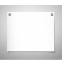 Paper sheet with pushpins on gray vector image