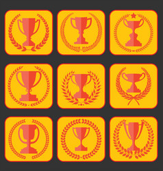 Trophy and awards retro vintage collection 7 vector