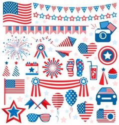 USA celebration flat national symbols set for vector image vector image