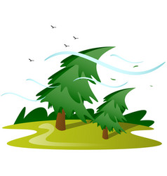 wind tree isolated vector image
