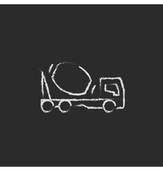 Concrete mixer truck icon drawn in chalk vector