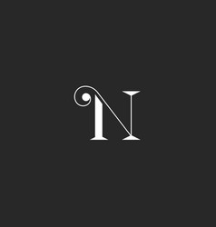 n letter monogram with thin lines swirl simple vector image