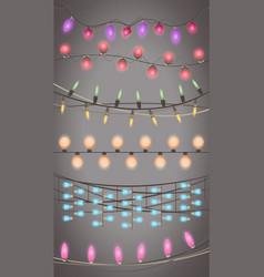 christmas lights garland isolated design xmas vector image