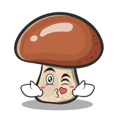 Kissing mushroom character cartoon vector