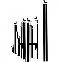 seagulls on piles vector image vector image