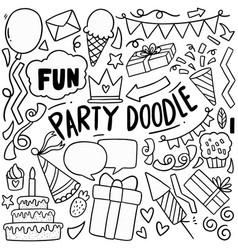 04-08-040 hand drawn party doodle happy birthday vector