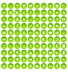 100 golf icons set green circle vector image