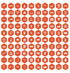 100 hi-tech icons hexagon orange vector