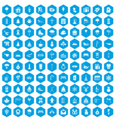 100 winter holidays icons set blue vector image