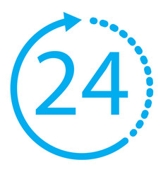 24 hours icon on white background 24 hours sign vector image