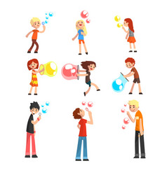 adults and children blowing soap bubbles set vector image