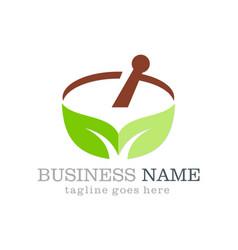 Alternative medicine leaf organic logo vector