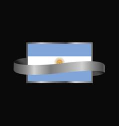 argentina flag ribbon banner design vector image