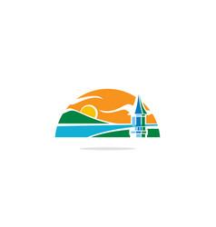beach landscape nature tower logo vector image