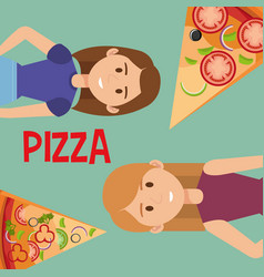 beautiful women with italian pizza vector image
