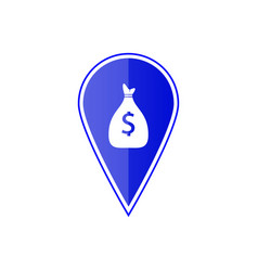 Blue map pointer with money bag icon vector