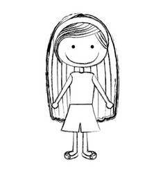 Blurred silhouette caricature girl with long hair vector