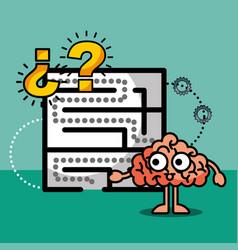 brain cartoon labyrinth creative idea solution vector image
