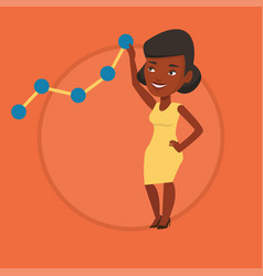 business woman looking at chart going up vector image
