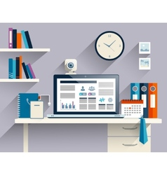 Businessman workplace flat vector image