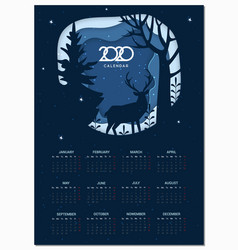 calendar 2020 basic grid winter paper cut vector image
