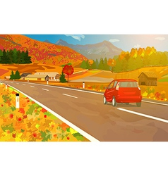 Car travel in Alps vector image
