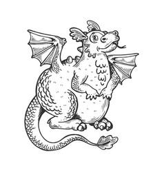 Cartoon dragon engraving vector
