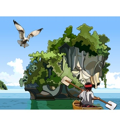 cartoon landscape fisherman on a boat sailing near vector image
