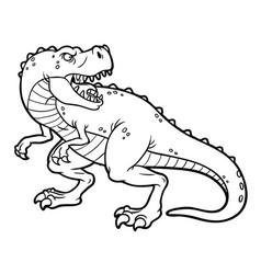 Cartoon tyrannosaurus rex line art vector