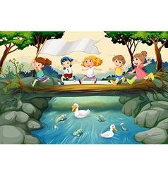 children hiking in woods vector image