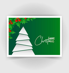 christmas card design with green background vector image