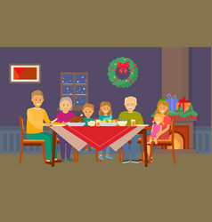 christmas family dinner people eating food at room vector image