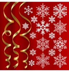 Christmas set of snowflakes vector