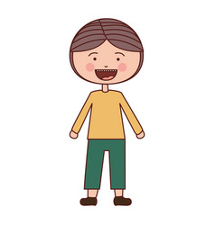 Color silhouette smile expression cartoon boy with vector