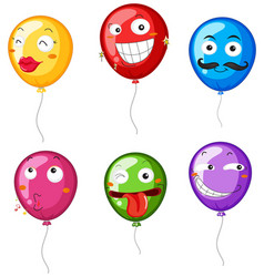 Colorful balloons with facial expressions vector