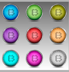 Colorful circles with bitcoin symbol vector