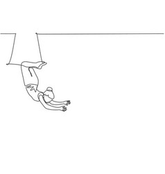 Continuous one line drawing a female acrobat vector