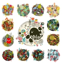 Cool set of round floral balls with birds and vector image vector image