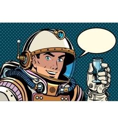 Cosmonaut toast celebration vector image