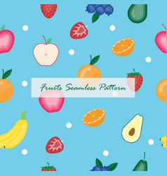 creative fruits seamless on blue background vector image