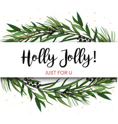 cristmas greeting card invite pine tree greenery vector image