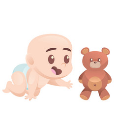 Cute cartoon crawling baboy on all fours with vector