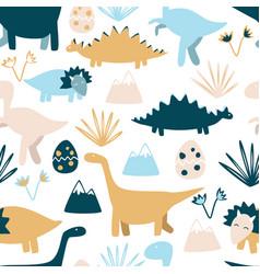 Cute dinosaurs seamless pattern kids design vector