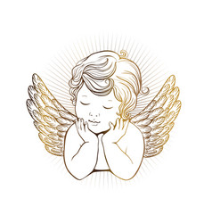 Cute little angel with closed eyes with wings vector