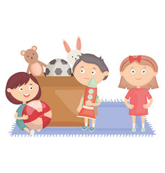 Cute little kids group with toys box vector