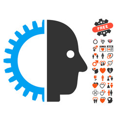 cyborg head icon with valentine bonus vector image vector image